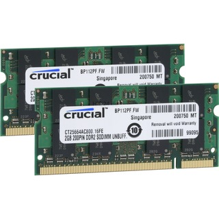4096 MB Crucial SO-DIMM 4 GB DDR2-800 (CT2KIT25664AC80E) CL6